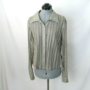 JS Collections Button Up Blouse Gold Metallic